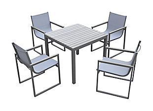Bistro 5-Piece Outdoor Gray Powder Coated Finish Dining Set, , large