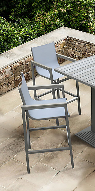 Marina Outdoor Barstool in Gray Powder Coated Finish with Gray Wood Accent Arms, , rollover
