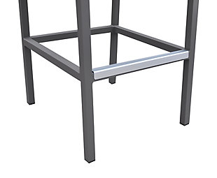 Marina Outdoor Barstool in Gray Powder Coated Finish with Gray Wood Accent Arms, , large