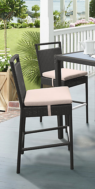 Tropez Outdoor Wicker Barstool with Water Resistant Beige Fabric Cushions, , rollover