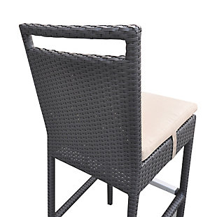 Tropez Outdoor Wicker Barstool with Water Resistant Beige Fabric Cushions, , large