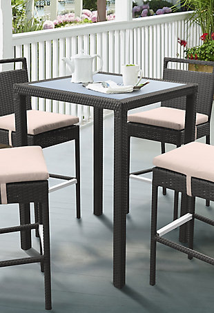 Tropez Outdoor Wicker Bar Table with Black Glass Top, , rollover