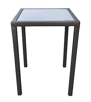 Tropez Outdoor Wicker Bar Table with Black Glass Top, , large