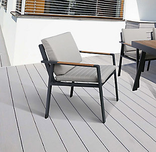 Nofi Outdoor Dining Chair in Charcoal Finish with Teak Wood Accent Arms  (Set of 2), , rollover