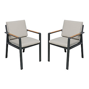 Nofi Outdoor Dining Chair in Charcoal Finish with Teak Wood Accent Arms  (Set of 2), , large