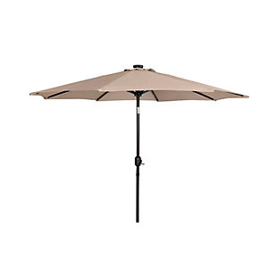 Henley 9' Outdoor Lighted Solar Powered Umbrella, Beige, large