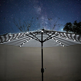 Henley 9' Outdoor Lighted Solar Powered Umbrella, Black Stripe, large