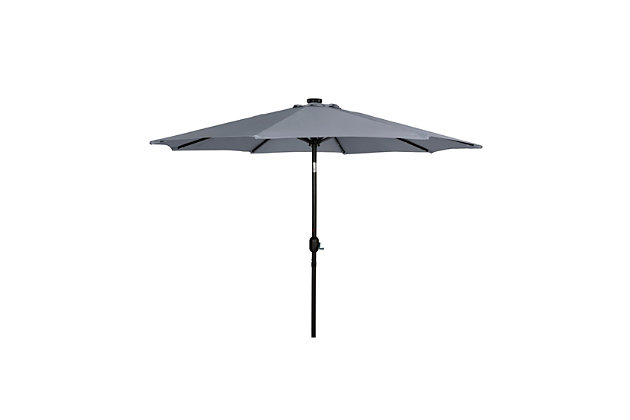 Henley 9' Outdoor Lighted Solar Powered Umbrella, Gray, large