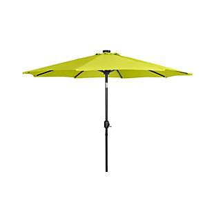 Henley 9' Outdoor Lighted Solar Powered Umbrella, Lime, large