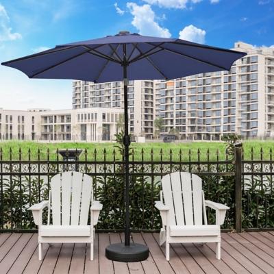 Henley 9' Outdoor Lighted Solar Powered Umbrella, Navy Blue, large