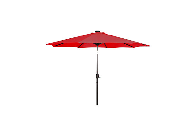 Henley 9' Outdoor Lighted Solar Powered Umbrella, Red, large