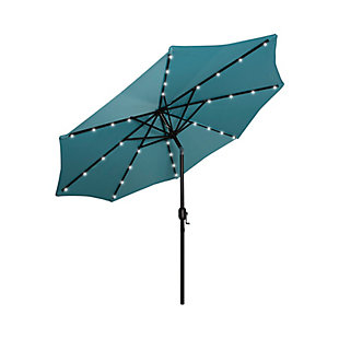 Henley 9' Outdoor Lighted Solar Powered Umbrella, Turquoise, large