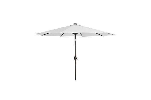 Henley 9' Outdoor Lighted Solar Powered Umbrella, White, large