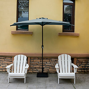 Abbott 9' Outdoor Half Round Crank And Tilt Patio Umbrella, Dark Green, large