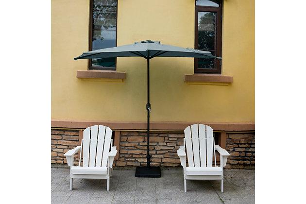 Abbott 9' Outdoor Half Round Crank And Tilt Patio Umbrella, Gray, large