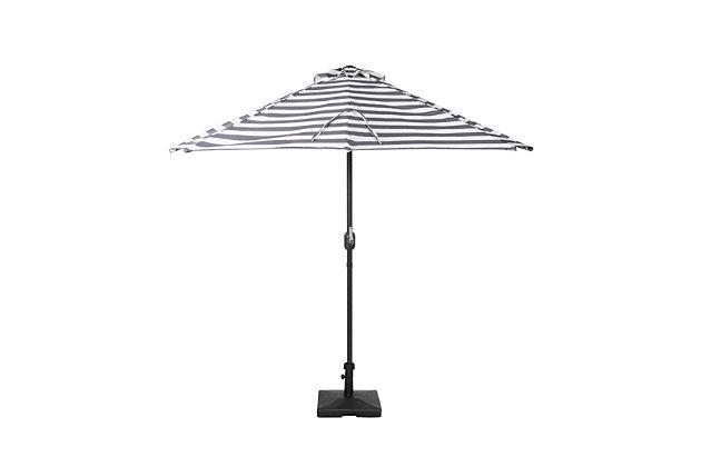 Abbott 9' Outdoor Half Round Crank And Tilt Patio Umbrella, Gray Stripe, large