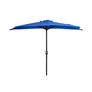 Abbott 9' Outdoor Half Round Crank And Tilt Patio Umbrella, Blue, large