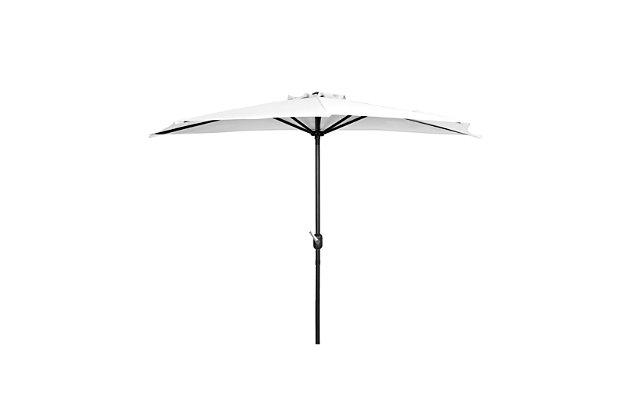 Abbott 9' Outdoor Half Round Crank And Tilt Patio Umbrella, White, large