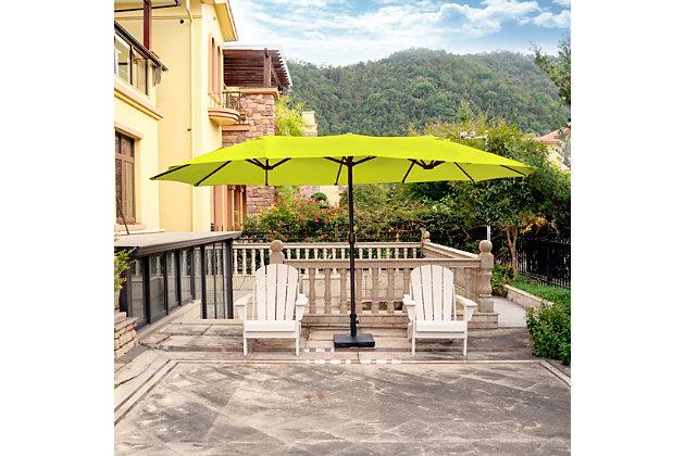 Hampson 18 X 9' Outdoor Market Umbrella, Lime, large