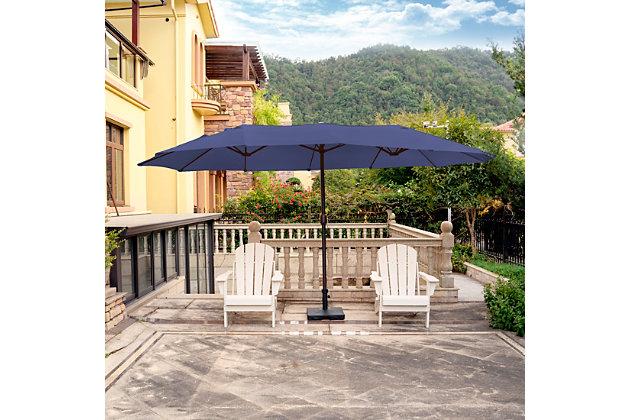 Hampson 19 X 9' Outdoor Market Umbrella, Navy Blue, large