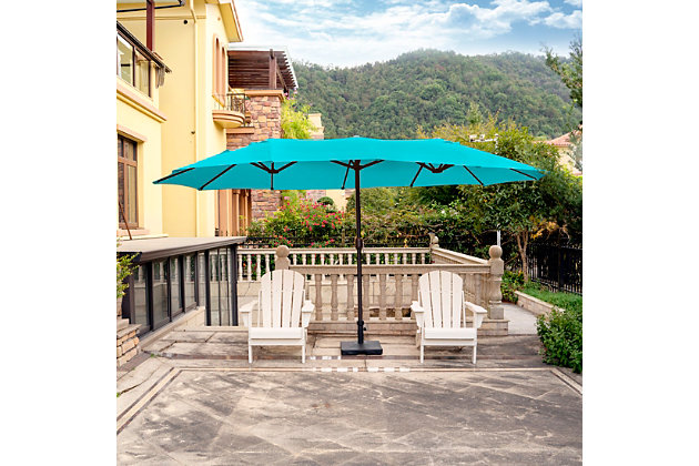 Hampson 22 X 9' Outdoor Market Umbrella, Turquoise, large
