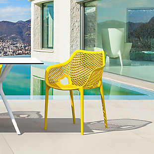 Siesta Outdoor Air XL Dining Arm Chair Yellow (Set of 2), Yellow, rollover