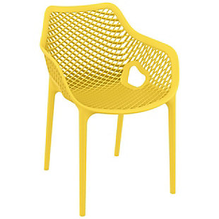 Siesta Outdoor Air XL Dining Arm Chair Yellow (Set of 2), Yellow, large