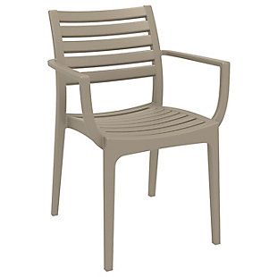 Siesta Outdoor Artemis Dining Arm Chair Taupe (Set of 2), Taupe, large