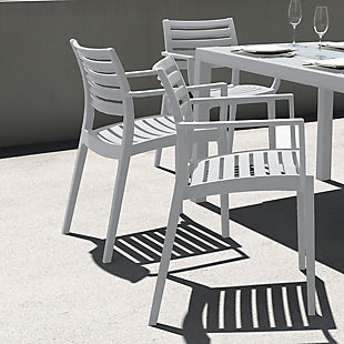 Siesta Outdoor Artemis Dining Arm Chair Silver Gray (Set of 2), , rollover