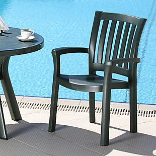 Siesta Outdoor Sunshine Dining Arm Chair Green (Set of 4), Dark Green, rollover