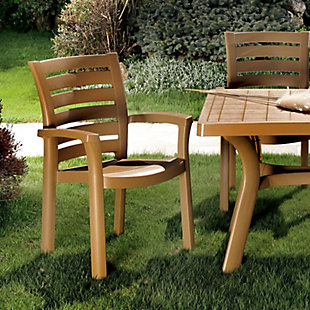 Siesta Outdoor Marina Dining Arm Chair Teak Brown (Set of 4), Cafe Latte, rollover