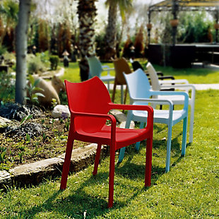 Siesta Outdoor Diva Dining Arm Chair Red (Set of 2), Red, large