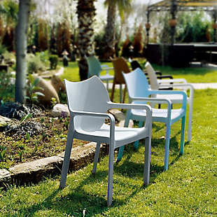 Siesta Outdoor Diva Dining Arm Chair Silver (Set of 2), , rollover