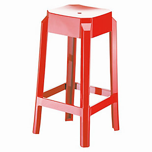 Siesta Outdoor Fox Counter Stool Glossy Red (Set of 2), Glossy Red, large
