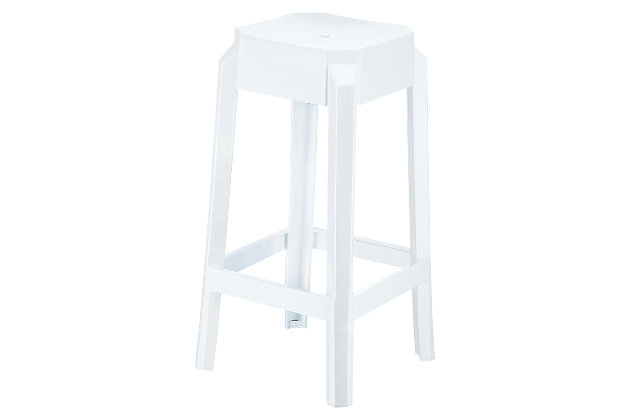Siesta Outdoor Fox Counter Stool Glossy White (Set of 2), Glossy White, large