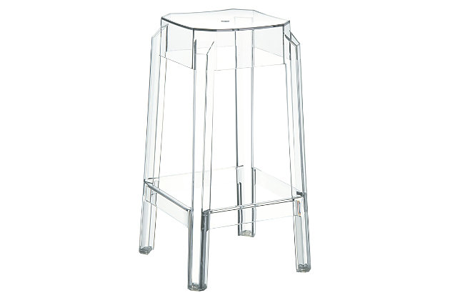 Siesta Outdoor Fox Counter Stool Clear Transparent (Set of 2), Transparent Clear, large