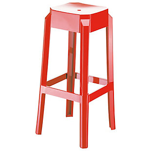 Siesta Outdoor Fox Bar Stool Glossy Red (Set of 2), Glossy Red, large