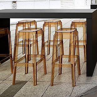 Siesta Outdoor Fox Bar Stool Transparent Amber (Set of 2), Transparent Amber, large