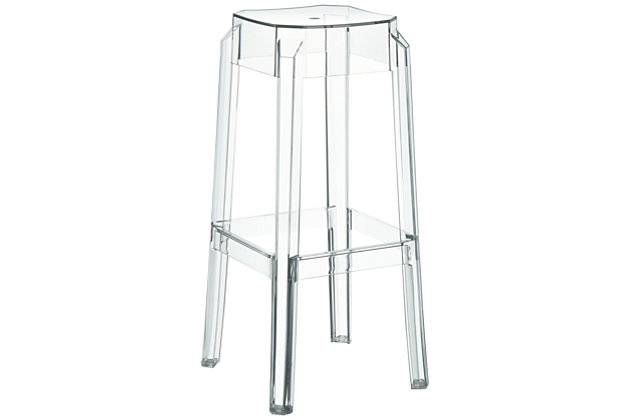 Siesta Outdoor Fox Bar Stool Clear Transparent (Set of 2), Transparent Clear, large