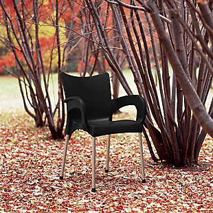 Siesta Outdoor Romeo Dining Arm Chair Black (Set of 2), Black, rollover