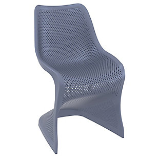 Siesta Outdoor Bloom Dining Chair Dark Gray (Set of 2), Dark Gray, large