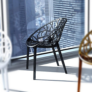 Siesta Outdoor Crystal Modern Dining Chair Transparent Black (Set of 2), Transparent Black, rollover