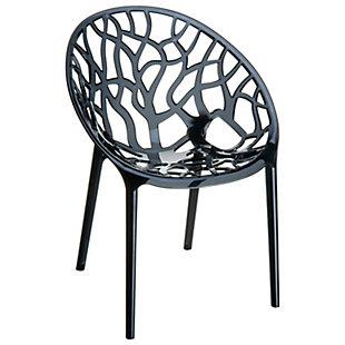 Siesta Outdoor Crystal Modern Dining Chair Transparent Black (Set of 2), Transparent Black, large