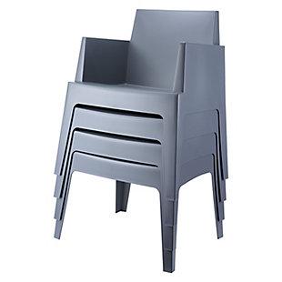 Siesta Outdoor Box Dining Arm Chair Dark Gray (Set of 4), Dark Gray, rollover