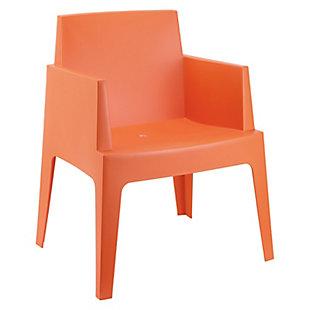 Siesta Outdoor Box Dining Arm Chair Orange (Set of 4), Orange, large