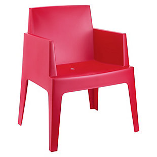 Siesta Outdoor Box Dining Arm Chair Red (Set of 4), Red, large