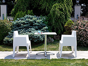 Siesta Outdoor Box Dining Arm Chair White (Set of 4), White, large
