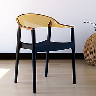 Siesta Outdoor Carmen Modern Dining Chair Black Seat Transparent Amber Back (Set of 2), Black/Transparent Amber, rollover