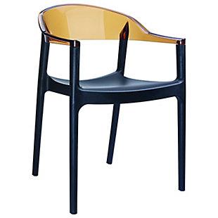 Siesta Outdoor Carmen Modern Dining Chair Black Seat Transparent Amber Back (Set of 2), Black/Transparent Amber, large