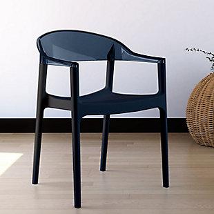 Siesta Outdoor Carmen Modern Dining Chair Black Seat Transparent Black Back (Set of 2), Black/Transparent Black, rollover